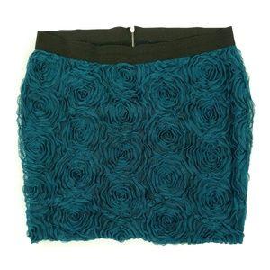 Torrid Teal Floral Textured Mini Pencil Skirt 22